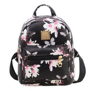 XINIU backpack women unique Causal Floral Printing Leather Bag high quality school bags for teenagers mochila feminina #0
