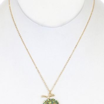 Ghashena Gold Metal Link Chain with Crystal Stone Pave Lime Fruit Charm