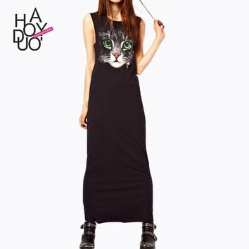 Women's CAt Print Sleeveless Maxi Dress S-XL