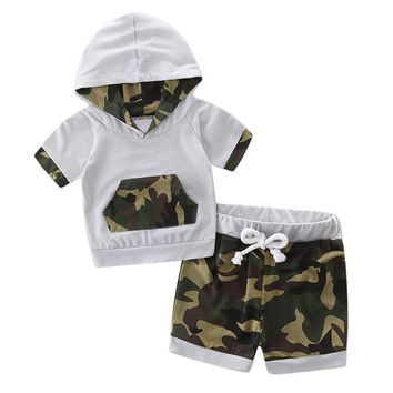 Modern 2017 Toddler Baby Boy Clothes Hooded Camouflage Splice Tracksuit Tops Shorts Set Baby Boy Summer Clothes Vetement Garcon