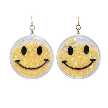 Smiley Face Star Glitter Dangle Earrings