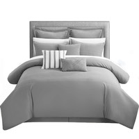 Chic Cranston Brenton Striped 9 Piece Comforter Set King & Queen Grey