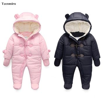 Baby Romper Fleece Lining Newborn Sleeping Coveralls Winter Costume For Boys Outfits Girls Cotton Jumper Infant Set