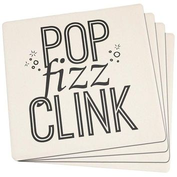 Chenier New Years Pop Fizz Clink Set of 4 Square Sandstone Coasters