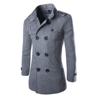 West Street Haku [2 COLORS] Men's Cashmere Blend Solid Basic Coat Jacket