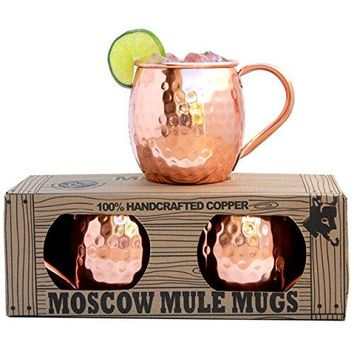 Moscow Mule Mugs - Set of 2 - Premium 1/2 Pound Mugs - 100% Solid Copper - Hammered Finish - 16oz