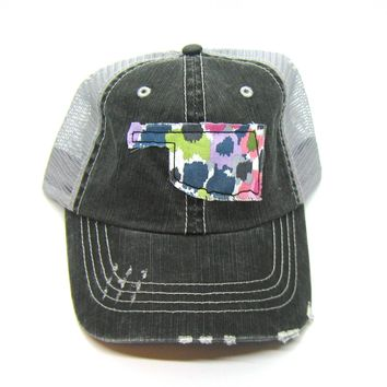 Black and Gray Distressed Trucker Hat - Abstract Floral Applique - Oklahoma - All United States Available