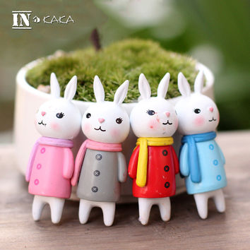Home micro fairy garden miniatures decoration doll house statuette moss ornament rabbits anime model Figure Toys DIY accessories