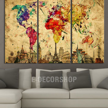 Canvas print world map and wonders of the world on www the seven wonders of the world on pantone canvas gallery publicscrutiny Image collections