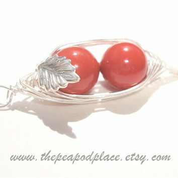2 Peas in a Pod Red necklace with inset leaf - Red Coral Swarovski pearl necklace - Best Friend - wire wrapped necklace - Bridesmaids
