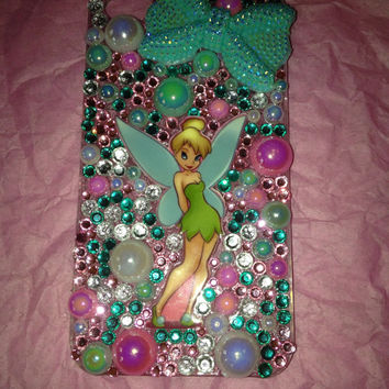 Pink green white disney fairy tinkerbell inspired iphone 4 5 5c samsung galaxy s3 s4 s5 phone case