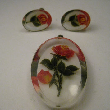 Vintage Lucite Reverse Painted Rose Pendant & Matching Screw Back Earrings, Mid-Century