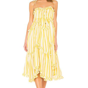 Yellow And White Stripe Midi Dress