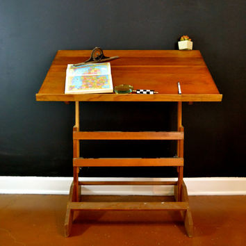 Wood Vintage Drafting Table, Wood Drafting Table, Adjustable Drafting Desk