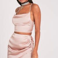 Aras Champagne Satin Ruched Mini Skirt