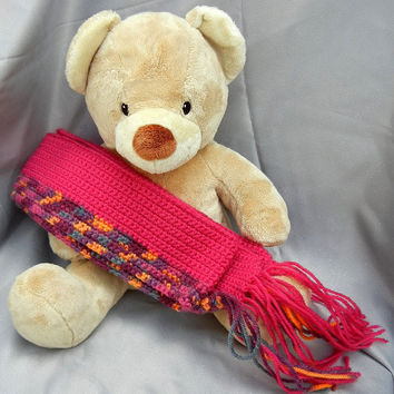 Wool Crochet Scarf Fuchsia with Magenta Plum and by CroweShea