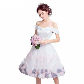 White Knee length Bridesmaid Dresses New arrival Sweetheart Short Pretty Romantic New Bridesmaid Dress