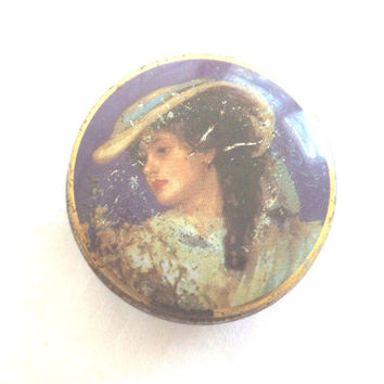 vintage antique tiny tin candy box, the chambers candy company, england, purple tin, victorian woman, pill box, trinket box