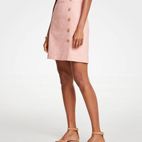 Button Textured A-Line Skirt | Ann Taylor