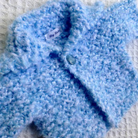 Newborn baby boy knit sweater with matching hat and Ready to ship blue boy sweater baby shower gift knitted baby sweater
