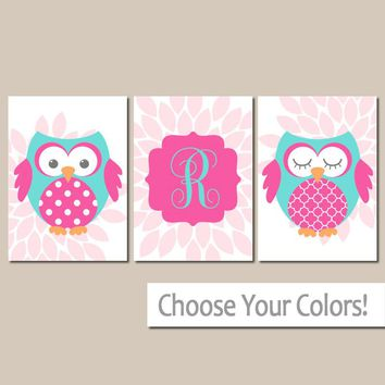 Girl OWL Wall Art, Baby Owl Nursery Decor, Girl Monogram Bedroom Pictures, Pink Blue Flowers, Set of 3, Canvas or Prints, Owl Theme Pictures