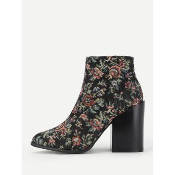 Calico Print Block Heeled Ankle Boots