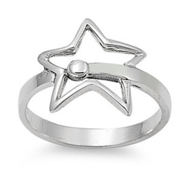 925 Sterling Silver Shooting Star 13MM Ring