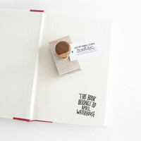 Hand Lettered Book Stamp, This Books Belongs To Personalized Rubber Stamp - Hand Lettered Custom Name - Ex Libris Stamp - Gift for Teacher