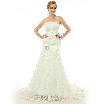 Mermaid Style Long Wedding Dress Tulle Applique Lace Up Wedding Dress Bridal Gown