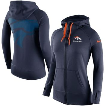 Denver Broncos Nike Womens Warpspeed All Time Full-Zip Hoodie – Navy Blue
