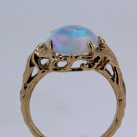 Opal Tree Ring 14k rose gold