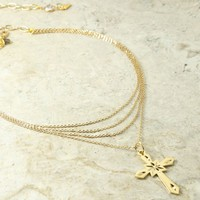 The Valeria Layered Cross Necklace