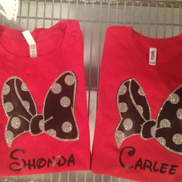 Custom Girls Disney Sparkle Polka Dot Bow Shirt