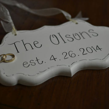 Personalized Name and Established Date Off White Decorative Hand Painted Cottage Chic Wedding Sign