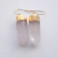 Quartz Dangle Earrings, OOAK
