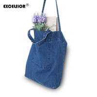 Designer Women Denim Tote Shopping Bag Casual Blue Fabric Plain Jean Handle Front Pocket Shoulder
