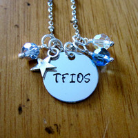 The Fault in our Stars Inspired TFIOS Fan Necklace. Hazel and Augustus. Silver colored, Swarovski crystals.