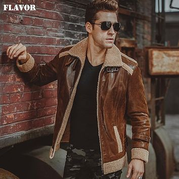 Men's real leather jacket motorcycle Genuine Leather faux fur jackets winter warm bomber coat