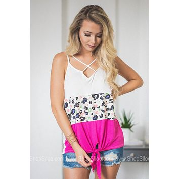 Criss Cross Color Block Hot Pink Tank Top