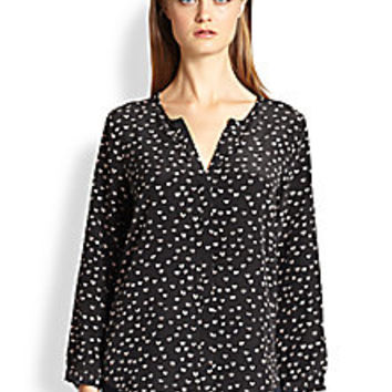 Joie - Purine Heart-Print Silk Blouse - Saks Fifth Avenue Mobile