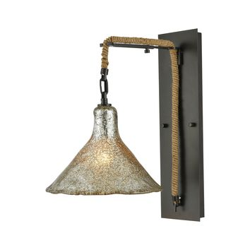 10436/1SCN Hand Formed Glass 1 Light Wall Sconce In Oil Rubbed Bronze - Free Shipping!