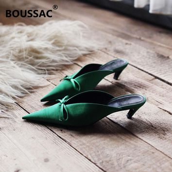 Bowtie Mules Pointed Toe Women Pumps High Heels Slip on Kitten Heel Chic Women Mules Elegant Office Shoes Women SWA0001