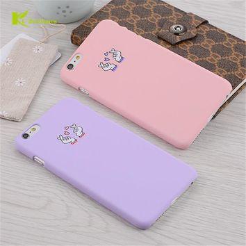KL-Boutiques Capa For iPhone 5 5S 6 6S 7 Plus Funny Candy Colors Gesture Back Cover Fashion Cartoon Couple Hard Case Coque