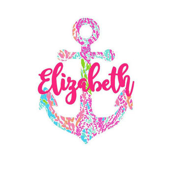 Preppy Pattern Inspired Anchor Monogram Decal | Monogram Sticker | Lilly | Custom | Yeti Decal | SIC Decal | Monogram Car | Lilly Name Decal