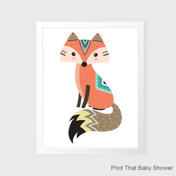 Fox Wall Art - Fox Nursery Decor - Nursery Art - Tribal Fox Kids Wall Art - Tribal Nursery Art - Tribal Fox Wall Decor - Tribal Fox Wall Art
