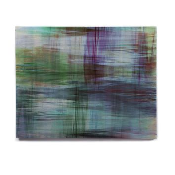 "Ebi Emporium ""COLOR BLUR, TURQUOISE BLUE"" Blue Green Abstract Modern Watercolor Mixed Media Birchwood Wall Art"