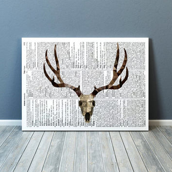 Modern decor Deer skull art Animal poster Colorful print TOA86-1