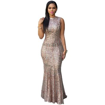 Round-neck Sleeveless Backless Mermaid Dress Party Ball Gown Prom Dress [6514311239]