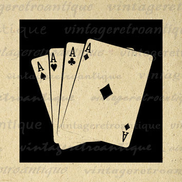 Digital Four Aces Graphic Printable Poker Hand Image Download Vintage Clip Art for Transfers etc HQ 300dpi No.2020