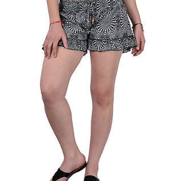 Women Girls Black Shorts Online Sleepwear Flower Printed BeachWear Cloth Cotton